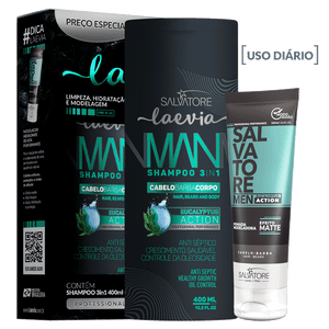 KIT LAEVIA SHAMPOO EUCALYPTUS 3 IN 1 400ML  + POMADA 100ML