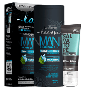 KIT LAEVIA SHAMPOO MENTHOL 3 IN 1 400ML  + POMADA 100ML
